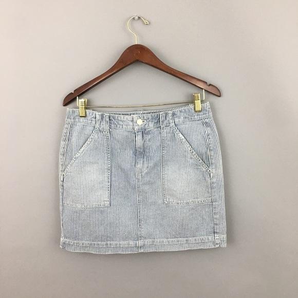 80/'s Railroad Stripe Denim Skirt